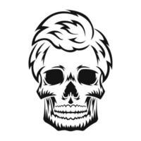 crânio humano. silhueta negra. elemento de design. esboço desenhado de mão. estilo vintage. ilustração vetorial isolada no fundo branco. vetor