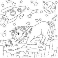 unicórnio astronauta encontra um alienígena fofo. página do livro para colorir para crianças. personagem de estilo de desenho animado. ilustração vetorial isolada no fundo branco. vetor