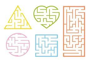 um conjunto de labirintos. jogo para crianças. quebra-cabeça para crianças. enigma do labirinto. estilo de desenho animado. planilhas visuais. enigma para a pré-escola. página de atividades. folha de desenvolvimento de educação. ilustração do vetor de cor.
