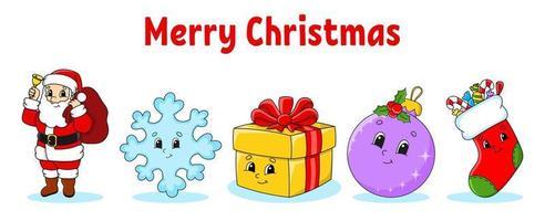 conjunto de personagens de desenhos animados bonitos de Natal. Papai Noel, floco de neve, presente, bugiganga, meia. feliz Ano Novo. elementos desenhados à mão. adesivos de inverno. ilustração em vetor cor isolada no fundo branco.