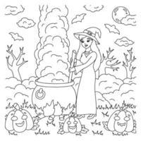 uma jovem bruxa está preparando uma poção em um caldeirão. página do livro para colorir para crianças. personagem de estilo de desenho animado. ilustração vetorial isolada no fundo branco. tema de halloween. vetor