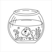 aquário com peixes. página do livro para colorir para crianças. estilo de desenho animado. ilustração vetorial isolada no fundo branco. vetor