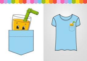 um copo de suco no bolso da camisa. personagem fofinho. ilustração vetorial colorida. estilo de desenho animado. isolado no fundo branco. elemento de design. modelo para suas camisas, livros, adesivos, cartões, pôsteres. vetor