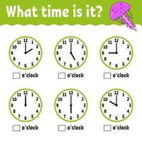 tempo de aprendizagem no relógio. planilha de atividades educacionais para crianças e bebês. jogo para crianças. ilustração em vetor plana simples simples no estilo bonito dos desenhos animados.