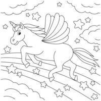 unicórnio fofo com asas. cavalo mágico de fadas. página do livro para colorir para crianças. personagem de estilo de desenho animado. ilustração vetorial isolada no fundo branco. vetor