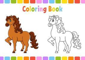 cavalo fofo. animal de fazenda. livro de colorir para crianças. personagem de coon. ilustração vetorial. página de fantasia para crianças. silhueta de contorno preto. isolado no fundo branco. vetor