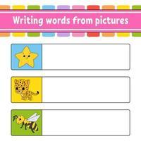 encontre a resposta correta. Desenhe uma linha. aprender palavras. planilha de desenvolvimento de educação. página de atividades para estudar inglês. jogo para crianças. personagem engraçado. ilustração isolada do vetor. estilo de desenho animado. vetor