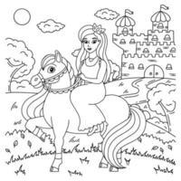 cavalo bonito com princesa. animal de fazenda. página do livro para colorir para crianças. personagem de estilo de desenho animado. ilustração vetorial isolada no fundo branco. vetor