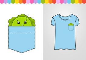 repolho no bolso da camisa. personagem fofinho. ilustração vetorial colorida. estilo de desenho animado. isolado no fundo branco. elemento de design. modelo para suas camisas, livros, adesivos, cartões, pôsteres. vetor