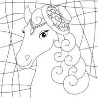 cabeça de cavalo bonita. animal de fazenda. página do livro para colorir para crianças. estilo de desenho animado. ilustração vetorial isolada no fundo branco. vetor
