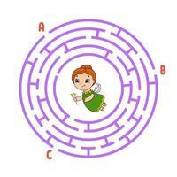 círculo labirinto. jogo para crianças. quebra-cabeça para crianças. enigma do labirinto redondo. ilustração do vetor de cor. encontre o caminho certo. o desenvolvimento do pensamento lógico e espacial. planilha de educação.