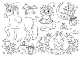 unicórnio em um chapéu, gato, morcego, abóbora. tema de halloween. página do livro para colorir para crianças. estilo de desenho animado. ilustração vetorial isolada no fundo branco. vetor