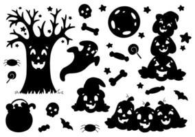 conjunto de silhuetas negras de abóbora, fantasma, árvore, morcego, ossos. tema de halloween. ilustração vetorial isolada no fundo branco. modelo para livros, adesivos, cartazes, cartões, roupas. vetor