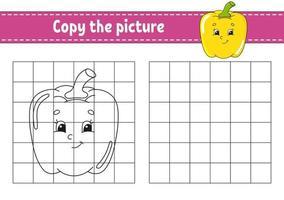 copie a imagem. colorir livro para crianças. planilha de desenvolvimento de educação. jogo para crianças. prática de caligrafia. personagem engraçado. ilustração em vetor bonito dos desenhos animados.