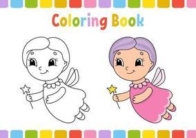 livro de colorir para crianças. personagem alegre. ilustração em vetor plana isolada simples no estilo bonito dos desenhos animados.
