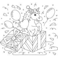 um unicórnio engraçado pula de uma caixa de presente. tema de aniversário. cavalo fofo. página do livro para colorir para crianças. estilo de desenho animado. ilustração vetorial isolada no fundo branco. vetor