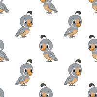 pássaro feliz. padrão colorido sem costura com personagem de desenho animado bonito. ilustração em vetor plana simples isolada no fundo branco. criar papel de parede, tecido, papel de embrulho, capas, sites.