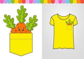 cenoura laranja no bolso da camisa. personagem fofinho. ilustração vetorial colorida. estilo de desenho animado. isolado no fundo branco. elemento de design. modelo para suas camisas, livros, adesivos, cartões, pôsteres. vetor