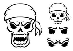 crânio com raiva. silhueta de contorno. elemento de design. ilustração vetorial isolada no fundo branco. modelo para livros, adesivos, cartazes, cartões, roupas. vetor