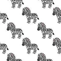 zebra feliz. padrão colorido sem costura com personagem de desenho animado bonito. ilustração em vetor plana simples isolada no fundo branco. criar papel de parede, tecido, papel de embrulho, capas, sites.