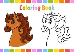 livro de colorir para crianças. animal de cavalo. Personagem de desenho animado. ilustração vetorial. página de fantasia para crianças. contorno preto. isolado no fundo branco. vetor