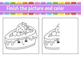 termine a imagem e cor. personagem de desenho animado isolado no fundo branco. para a educação de crianças. planilha de atividades. vetor