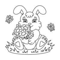o coelho segura um buquê de flores nas patas. página do livro para colorir para crianças. personagem de estilo de desenho animado. ilustração vetorial isolada no fundo branco. vetor