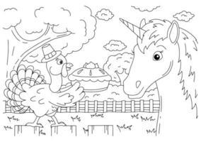 um peru da fazenda carrega uma torta de abóbora. unicórnio fofo. cavalo mágico de fadas. página do livro para colorir para crianças. Dia de ação de graças. estilo de desenho animado. ilustração vetorial isolada no fundo branco. vetor