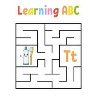 labirinto quadrado. jogo para crianças. labirinto quadrate. planilha de educação. página de atividades. aprender alfabeto. estilo bonito dos desenhos animados. encontre o caminho certo. enigma lógico. ilustração do vetor de cor.
