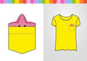 estrela do mar no bolso da camisa. personagem fofinho. ilustração vetorial colorida. estilo de desenho animado. isolado no fundo branco. elemento de design. modelo para suas camisas. vetor