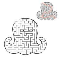 polvo de bebê fofo labirinto preto. planilhas para crianças. página de atividades. jogo de quebra-cabeça para crianças. vida marinha. enigma do labirinto. ilustração vetorial. com a resposta. vetor