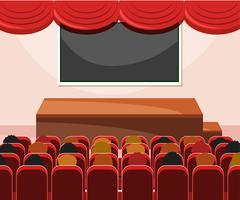 Interior, de, fase, com, audiência vetor