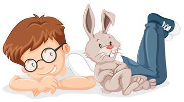 Menino, com, animal estimação, coelho vetor