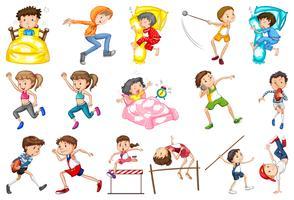 Conjunto de atividades diárias de crianças vetor
