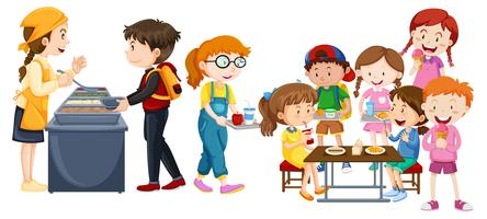 Crianças, comer, em, cafeteria vetor