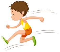 Atleta de homem correndo em uma corrida vetor