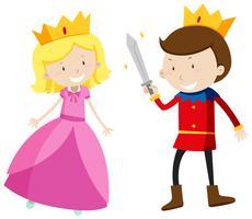Príncipe e princesa olhando feliz vetor
