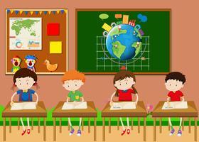 Muitos, estudantes, aprendizagem, em, sala aula vetor