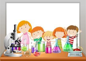 Design de fronteira com crianças e laboratório vetor