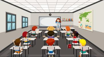 Alunos em sala de aula moderna vetor