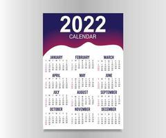 calendário de ano novo 2022 modelo de design conjunto de 12 meses vetor