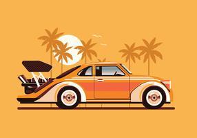 Carro Esportivo Clássico ou Vintage Estacionado na Praia vetor