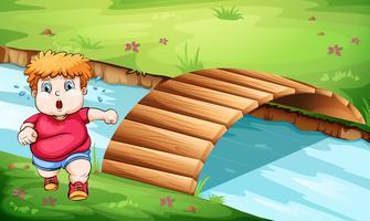 Um homem gordo correndo perto da ponte vetor