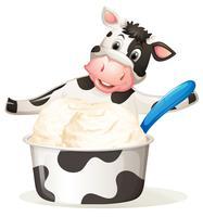 Vaca com sorvete de leite vetor