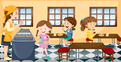 Crianças, tendo almoço, em, cantina vetor