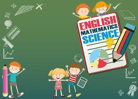 Design de fronteira com crianças e disciplinas escolares vetor