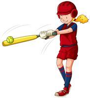Atleta de mulher jogando softball vetor