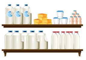 Grupo de produtos lácteos vetor