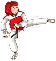 Homem, taekwondo, equipamento, chutando