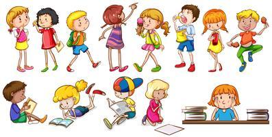 Crianças participando de diferentes atividades vetor